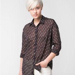 Mango Printed Summer Cotton Long Sleeve Shirt NWT